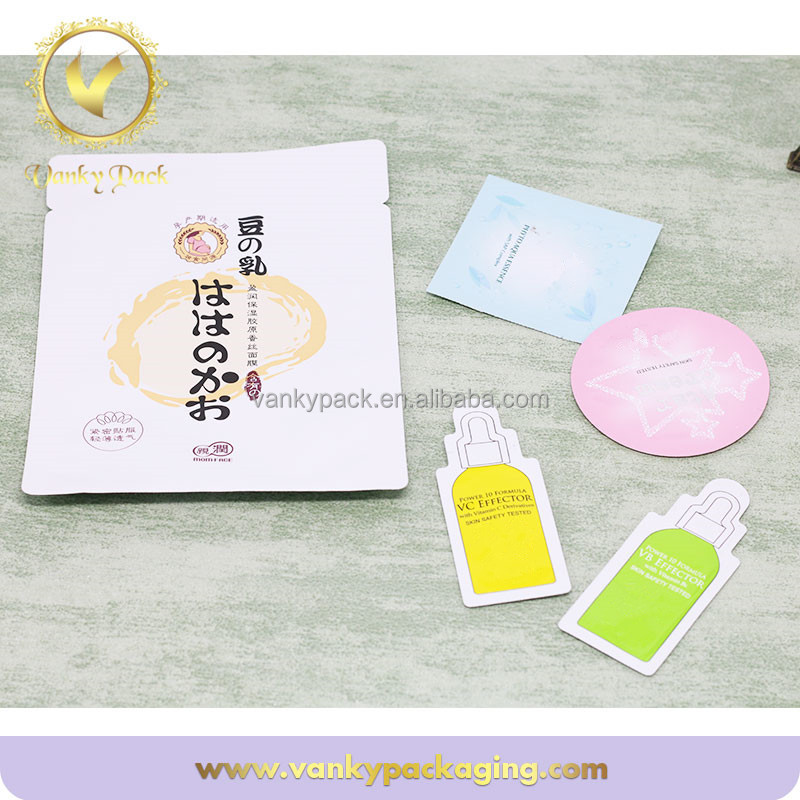 Aluminium foil facial mask packaging bag heat seal cosmetic packing pouch free sample