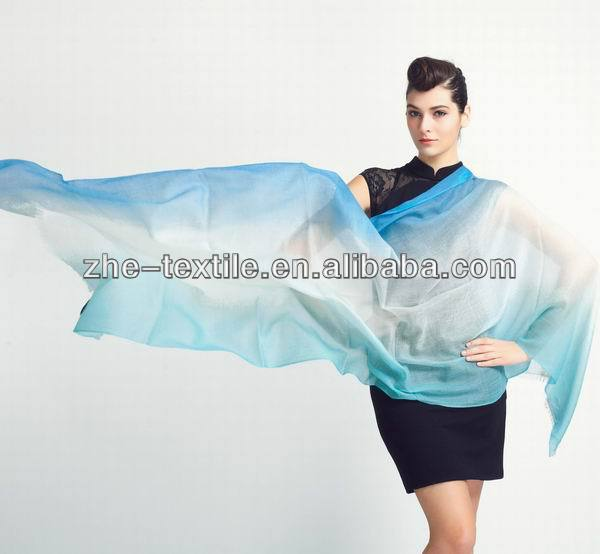 100% cashmere shawl worsted scarf 2/200nm gradual dye color