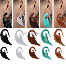 Angel Wing Spiral Taper Wood Ear Plug Expander Stretcher Body Piercing Jewelry