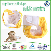 2015Happyflute summer style baby cloth diaper,one size fits all,reusable washable breathable nappy organic fabric nappy,