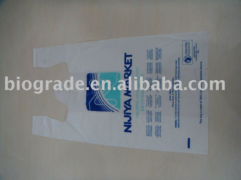 100% biodegradable corn starch shopping bag