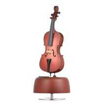 Classical Wind Up Cello Music Box with Rotating Musical Base Instrument Miniature Replica Artware Gift