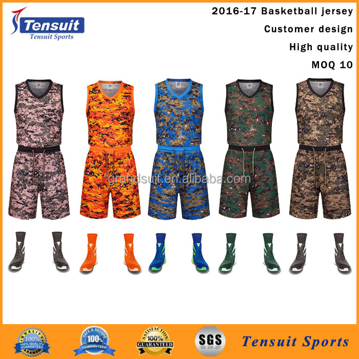 latest basketball jersey design 2016 camouflage color sublimation good quality uniforms basketball training wear cheap jersey