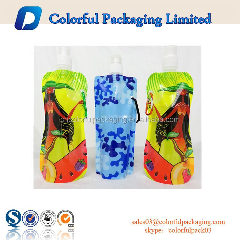 2016 Custom printed liquid packaging bags zip pouch with carabiner