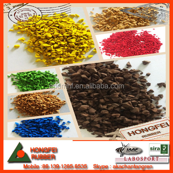multi colour crumb rubber/epdm granules for sports flooring surface