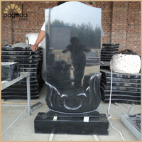 Modern Christian Shanxi Black Granite Tombstone