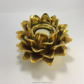 Gold ceramic pine cone shape tealight candle holder