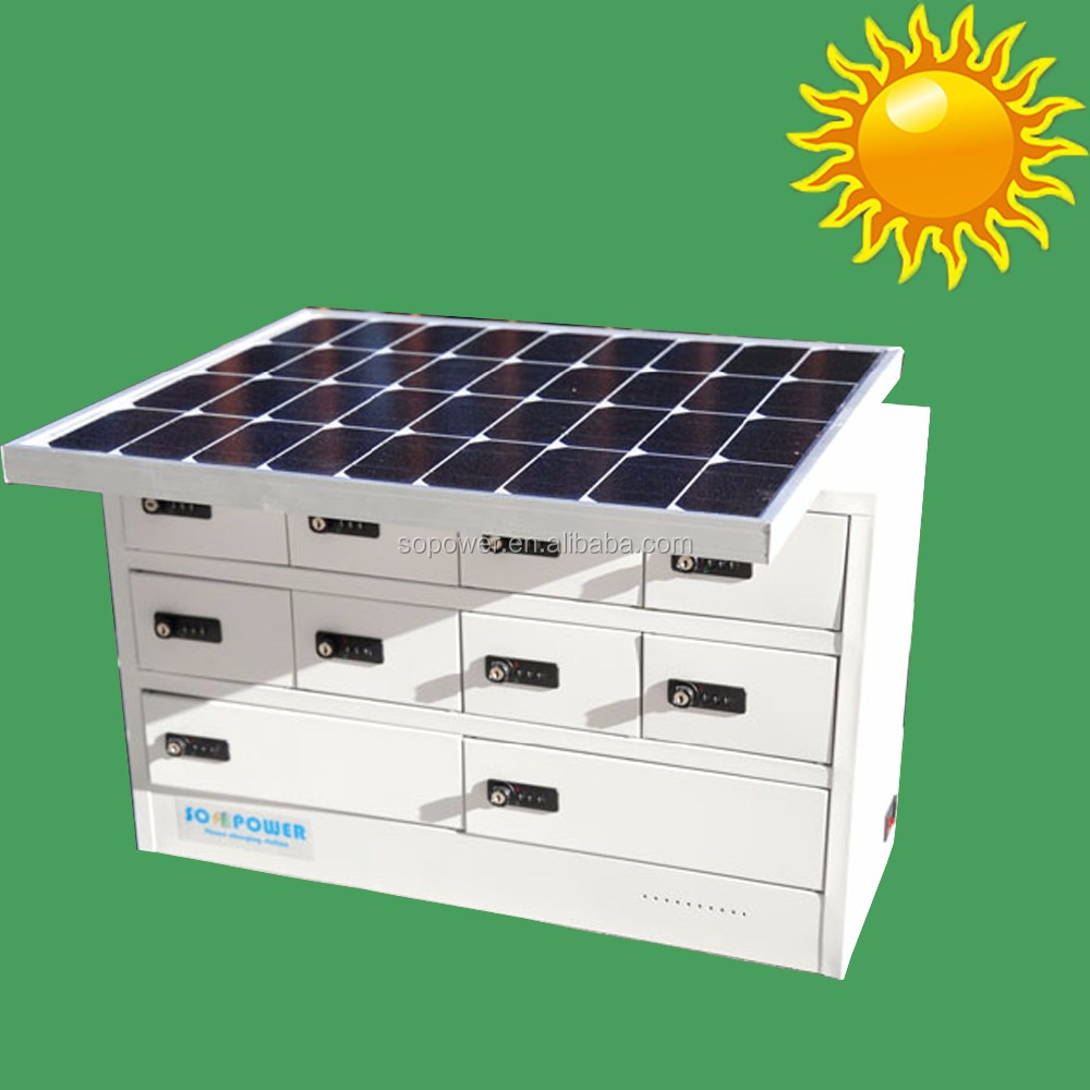 Solar panel charger outdoor phone charge station with storage lockers