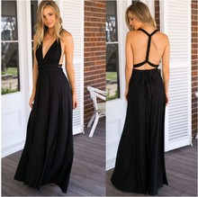 Wholesale NEW Summer Women Black Sexy V Neck Long Sleeve Bandage Evening Party Long Maxi Dress