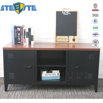 Modern Industrial Media Metal Tv Cabinet With Showcase