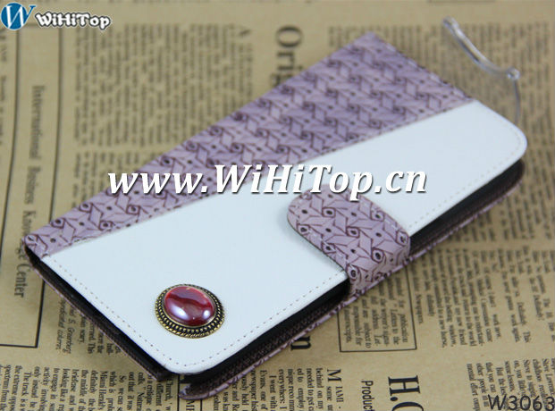 For Galaxy Note 2 II N7100 Leather Hard Style Credit Card Slot Wallet Case Cover With Peal Gam Design