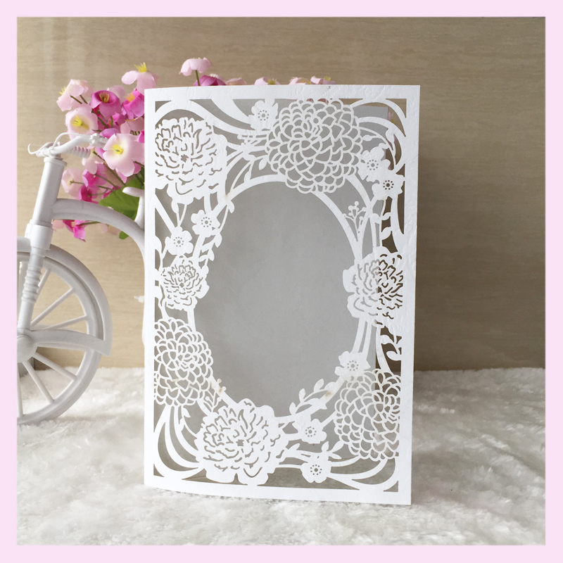 ramadan eid mubarak greeting cards wholesale china supplier laser cut wedding invitations card royal flower style