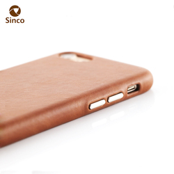 Full protective metal button genuine leather back cover case for iphone 7