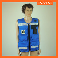 Blue color railway mens pvc work vest with many pockets
