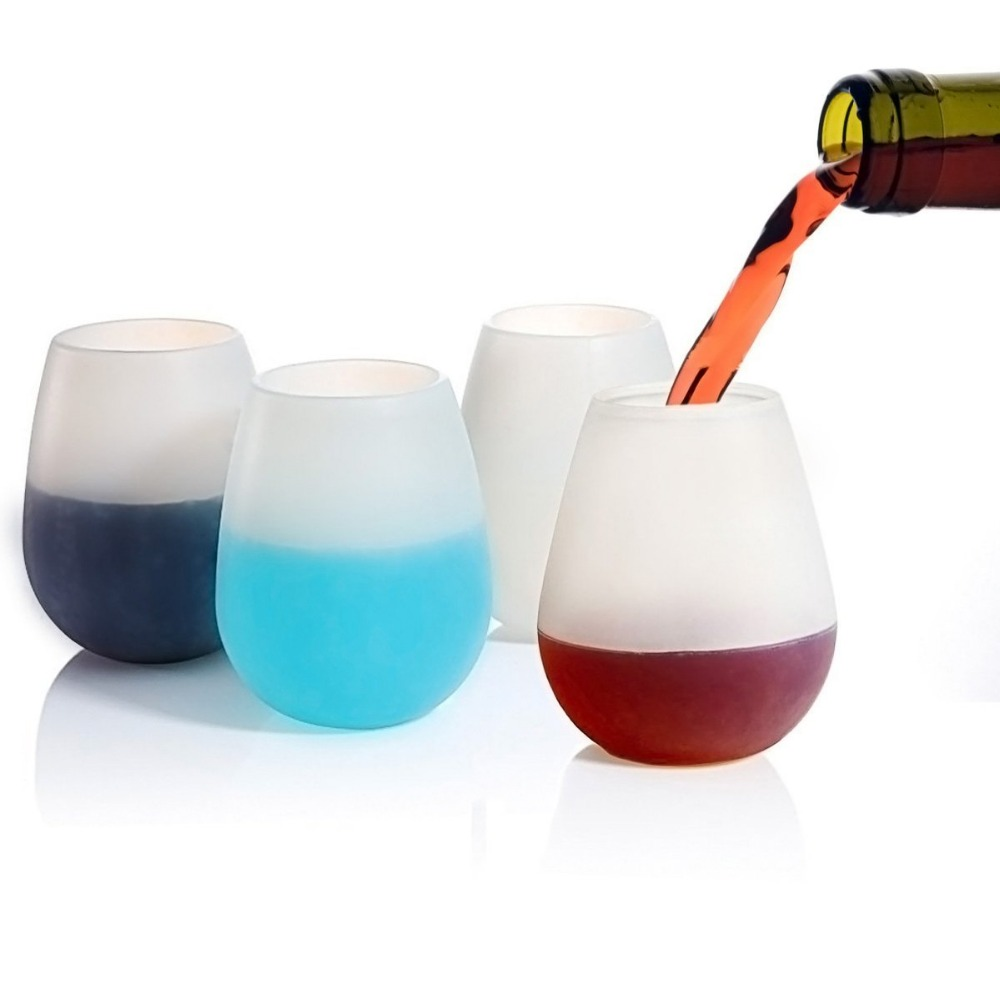 Hot selling manufacturer silicone stemless wine glass