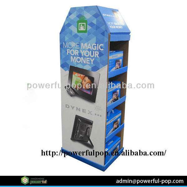 supply advertising pos cardboard gift wrapping paper floor display stand