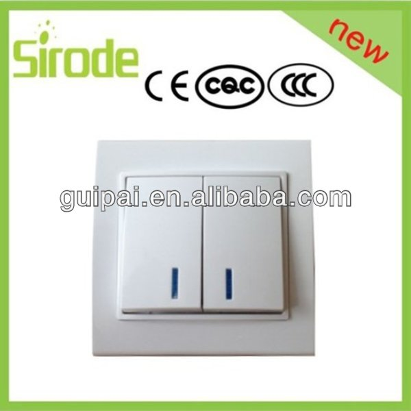 German Wall Switch,Illuminated Double Two Way Switch