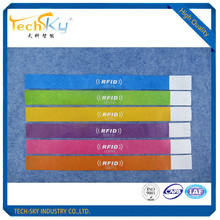 Custom HF UHF RFID Disposable Dupont Paper Wristband For Concert