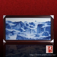 Blue and white porcelain hand painting famous landscape painting for hall decoration