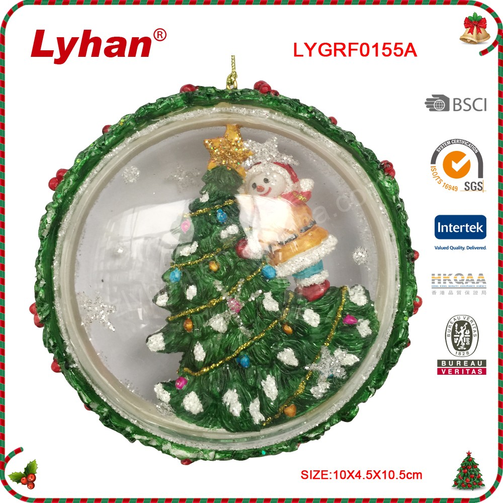 Lyhan glass inflate ball with resin tree and snowman for christmas