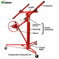 NEW Drywall Panel Hoist Dry Wall Jack Rolling Caster Lifter Construction Tool