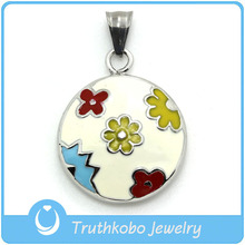 TKB-JP0017 Lovely kids jewelry silver circle with colourful enamel epoxy flowers stainless steel pendant