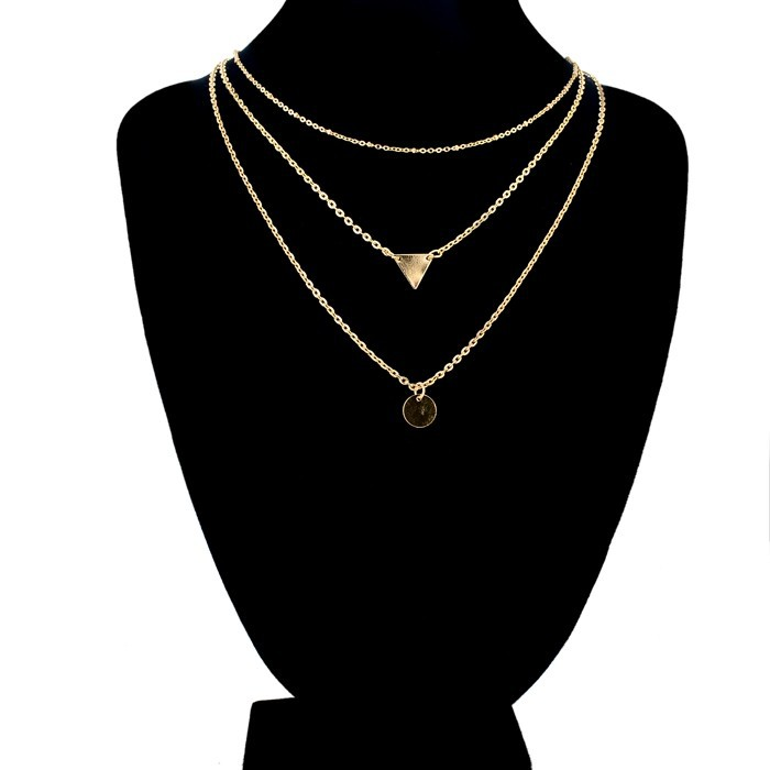 Fashion Europe And America Short Layer Necklace Gold Chain With Triangle And Round Metal Charms