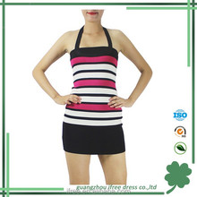 White beam wasit packet buttock dress O neck bandage fabric for dress