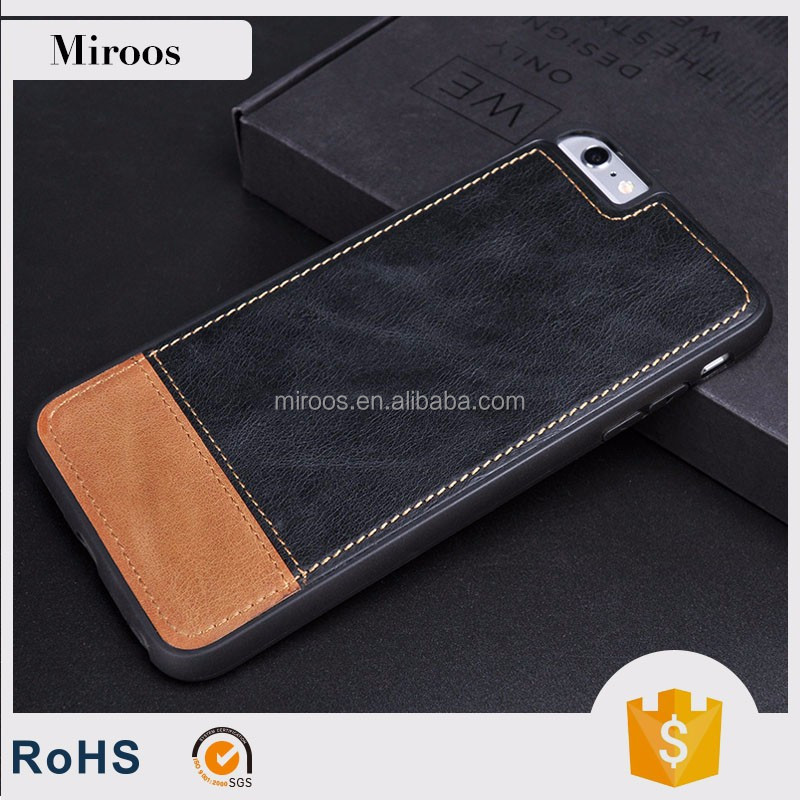 Mobile phone case genuine real leather flip cover for iPhone 7 with customized design