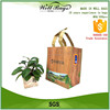 custom plank board wood grain transfer printing PP non woven 6 bottles wine reusable tote bag with velcro