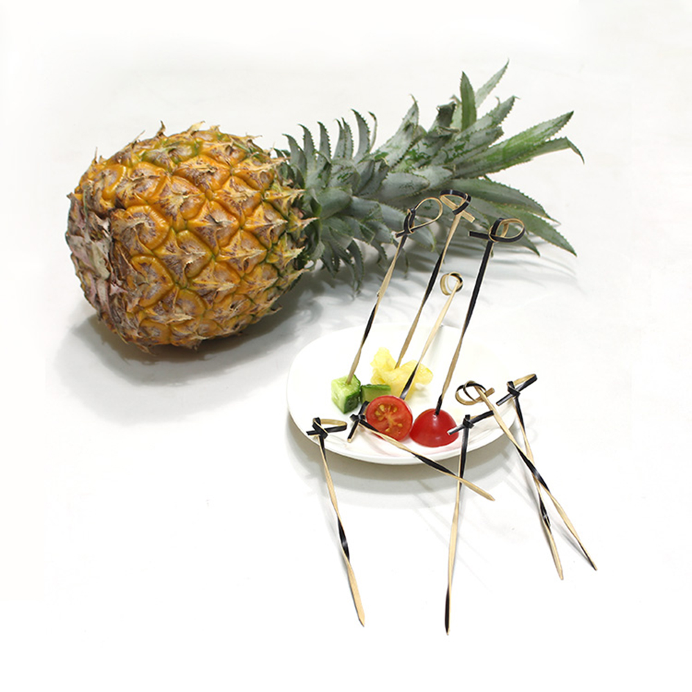 high quality natural BBQ bambo knotted flower skewers party picks bamboo fruit stick