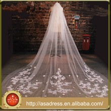 BV1003 Summer 2015 Hot sale Lace Appliques Wedding Veil 3 Meters Flower One Layer Bridal Long Veils