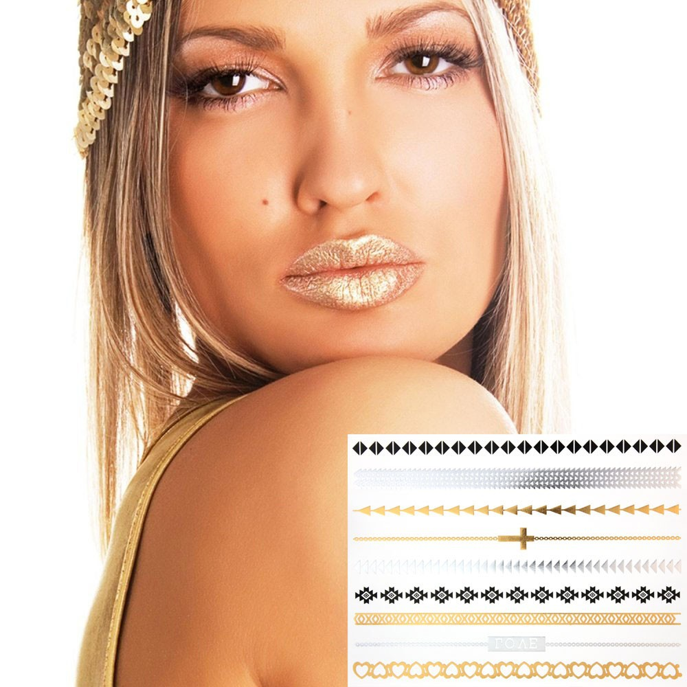 New Custom Body Metallic Temporary Foil Gold Silver jewelry tattoo sticker