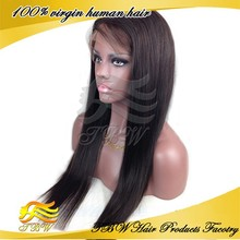 Factory wholesale 100% unprocessed lace front / full lace wig remy human hair brazilian wigs