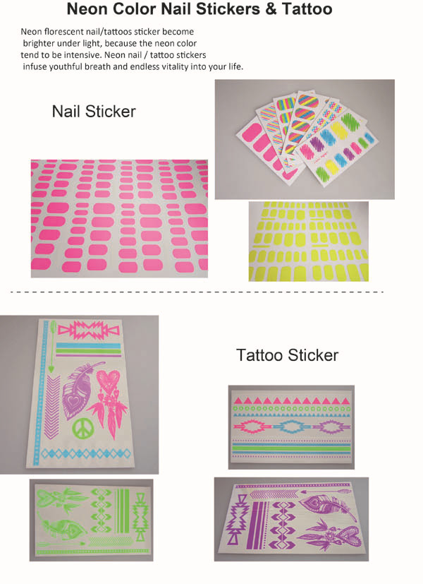 Custom neon pink color body tattoos sticker waterproof florescent temporary body tattoos long lasting jewelry body tattoo