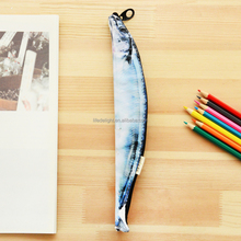 saury fish shaped polyester kids pencil case, mini saury bags for pens polyester