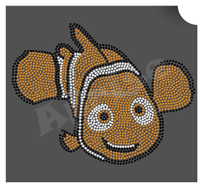 fish rhinestone iron on transfer for Tshirt