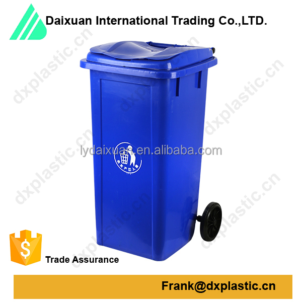 large size dustbin plastic waste bin with wheel trash can ,120liter for outdoor