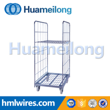 Wire mesh dismountable folded 2 sides a frame roll container