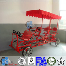 Hot Sale Luxurious 4 Person Quadricycle Tandem Surrey Sightseeing Bike
