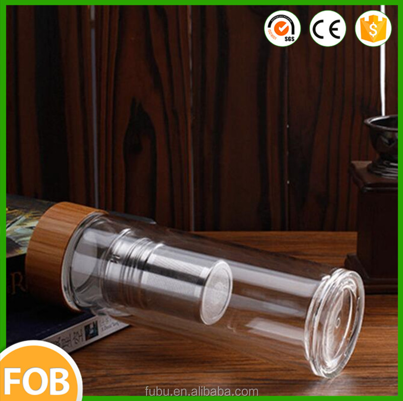 The sports water bottle ,the glass drinking water bottle with bamboo lid ,the infuser glass water bottle with bamboo lid