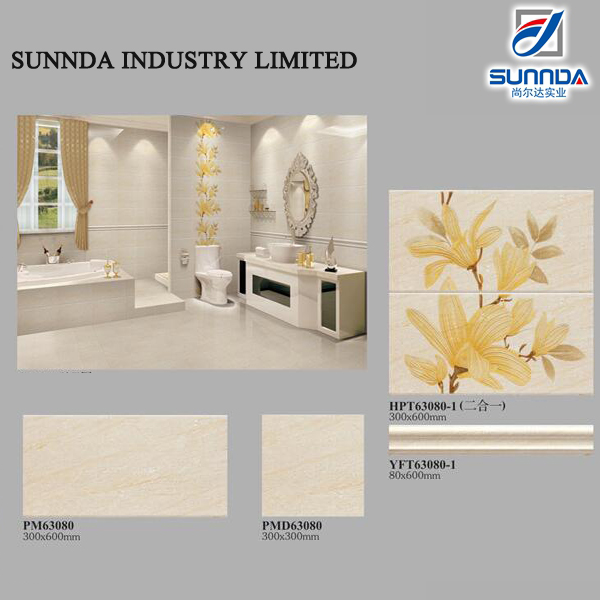 Decorative wall and floor coordination waist tile,Various decorative patterns of a set three pieces bathroom tiles