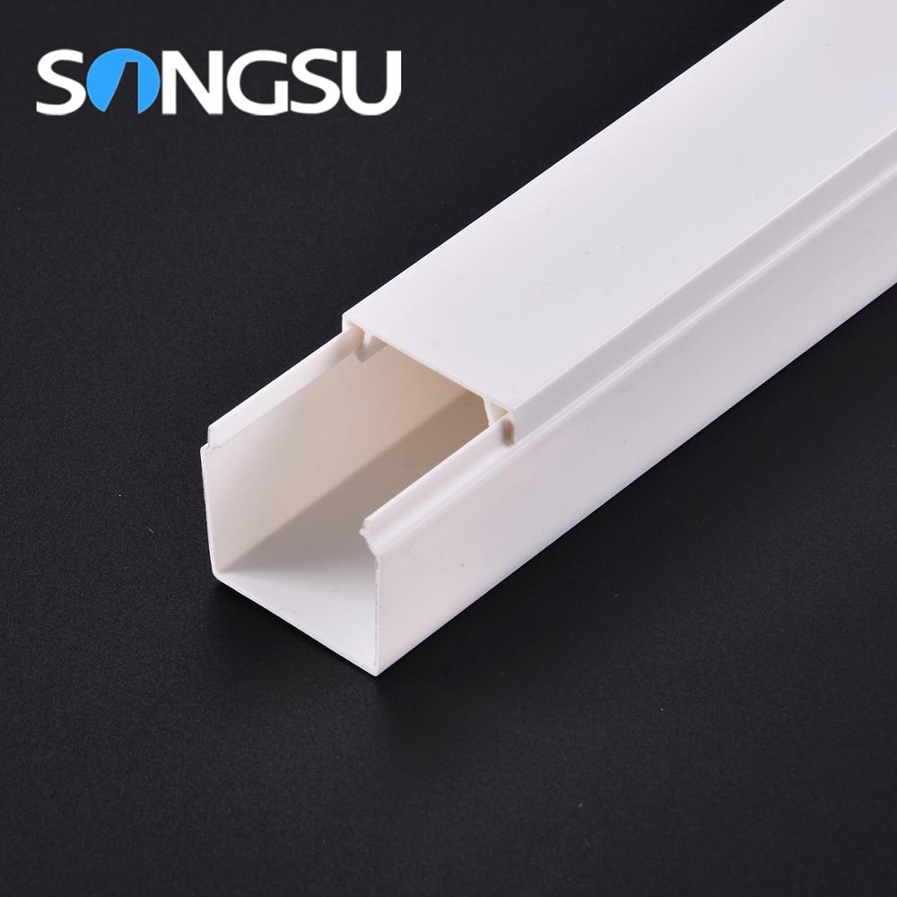 Factory Supply Flame retardancy full sizes pvc square trunking pipe/halogen pvc trunking
