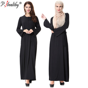 2018 new design muslim dress Islamic women plain polyester abaya dress with belt