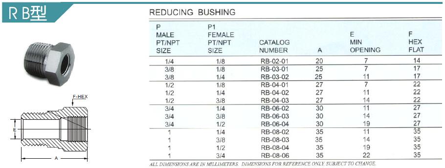 Npt bspt threaded stainless steel metric reducing bushing