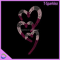 Fuchia and Pink Sweet Heart Iron on Rhinestone Transfer Motif