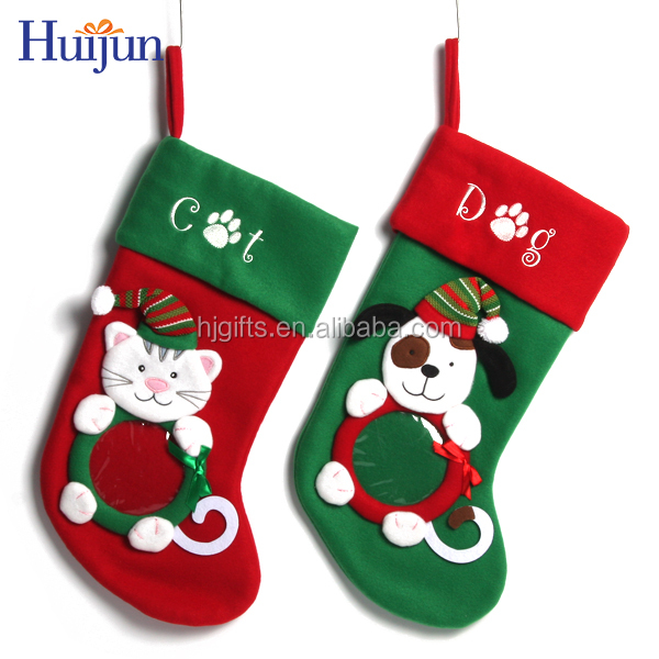 Best hot selling chinese lovely animated indoor christmas stocking decoration with photo frame