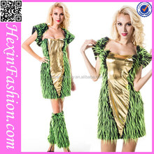 2015 fashion hot sale green animal cosplay women halloween costume