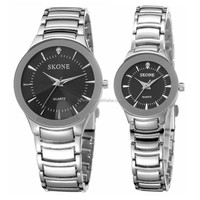 Skone 7199 hot selling diamond cut glass pair wrist watch