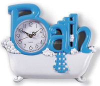 Blue Bath Wall Hanging Metal Wall Clock Bathroom Wall Art Wrough Iron Decoration